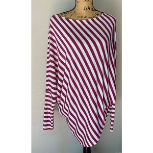 Easel Women's Large Striped Long Sleeve Tunic Top